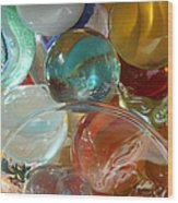 Marbles In A Jar Wood Print by Mary Bedy