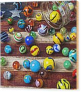 Marbles On American Flag Wood Print by Garry Gay