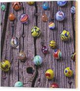 Marbles On Wood Wood Print