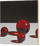 Marbles Red 1 B Wood Print