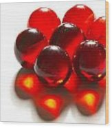 Marbles Red 3 C Wood Print