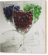 Marbles Wine Glasses 2 Wood Print