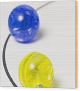 Marbles Yellow Blue Curve 1 Wood Print