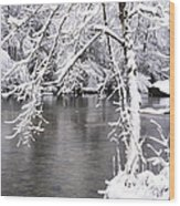 March Snow On The River Wood Print