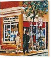 Marche Depanneur Storefront Paintings Authentic Montreal Art Prints Originals Commissions C Spandau Wood Print