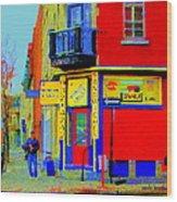 Marche Unique Cafe Sandwich Depanneur Rue St. Jacques St. Henri  Street Scenes Carole Spandau Wood Print