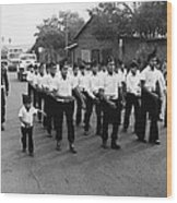 Marchers Number 1 100th Anniversary Parade Nogales Arizona 1980 Black And White  Wood Print