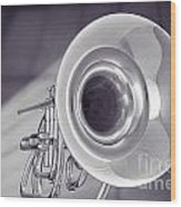 Marching French Horn Antique Classic In Sepia 3425.01 Wood Print