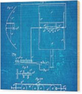 Marconi Radio Patent Art 1897 Blueprint Wood Print