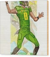 Marcus Mariota Oregon Ducks Rose Bowl Wood Print