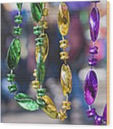 Mardi Gras Beads Wood Print