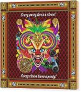 Mardi Gras Clown Style 1 Vector Sample Wood Print