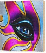 Mardi Gras Eye Wood Print