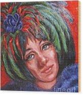 Mardi Gras Girl Wood Print