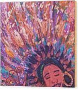 Mardi Gras Girl Revisited Wood Print