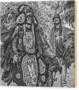 Mardi Gras Indian Monochrome Wood Print