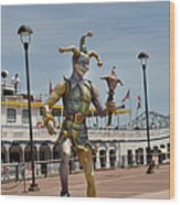 Mardi Gras Jester And River Boat Wood Print