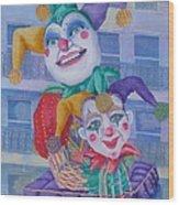 Mardi Gras Jesters Wood Print