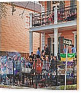 Mardi Gras Party On St Charles Ave New Orleans Wood Print
