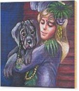 Mardi Gras Puppy Wood Print
