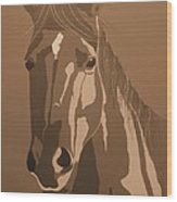 Mare In Sepia Wood Print