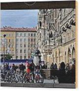 Mareinplatz And Glockenspiel Munich Germany Wood Print