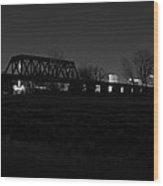 Margaret Hunt Hill Bridge Dallas Skyline Black And White Wood Print