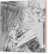 Marguerite Gerard sketching Wood Print