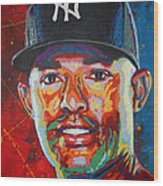 Mariano Rivera Wood Print by Maria Arango