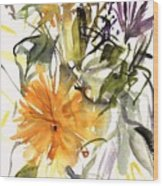 Marigold And Other Flowers Wood Print