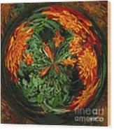 Marigold Orb II Wood Print