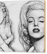 Marilyn Monroe Art Long Drawing Sketch Poster Wood Print by Kim Wang