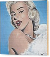 Marilyn Monroe - Blue Backround Wood Print