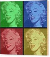Marilyn Monroe Colored Frame Pop Art Wood Print by Daniel Hagerman