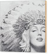 Marilyn Monroe In Headdress Pencil Portrait Wood Print