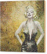 Marilyn Monroe In Points Wood Print