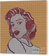 Marilyn Monroe Orange Wood Print