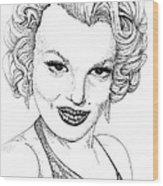 Marilyn Monroe -stipple Wood Print