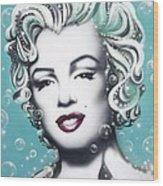 Marilyn Monroe Turquoise Wood Print