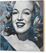 Marilyn On Fire Wood Print by Jo Ann