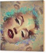 Marilyn Red Lips Digital Painting Wood Print