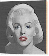 Marilyn Trio Red Lips Blue Eyes Wood Print