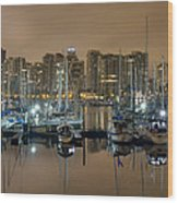 Marina Along Stanley Park In Vancouver Bc Wood Print