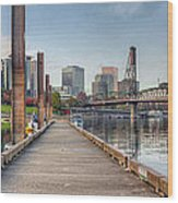 Marina Along Willamette River In Portland Oregon Downtown Wood Print