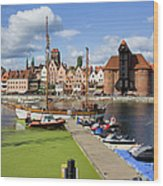 Marina And Old Town Of Gdansk Skyline Wood Print