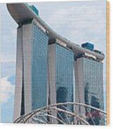 Marina Bay Sands Hotel 01 Wood Print