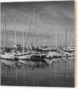 Marina Boats In Victoria British Columbia Black And White Wood Print