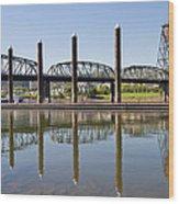 Marina By Willamette River In Portland Oregon Wood Print