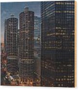 Marina City And A M A Plaza Chicago Wood Print