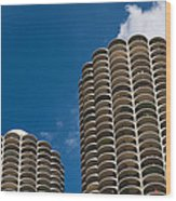 Marina City Morning Wood Print